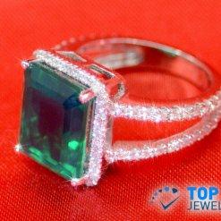 14K White Gold Lab Grown Emerald w/Diamonds Ring
