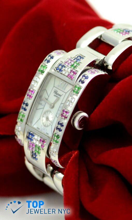 Ladies Chopard Geneve SS Watch w/ Diamonds; rainbow color Sapphires w/Box 1