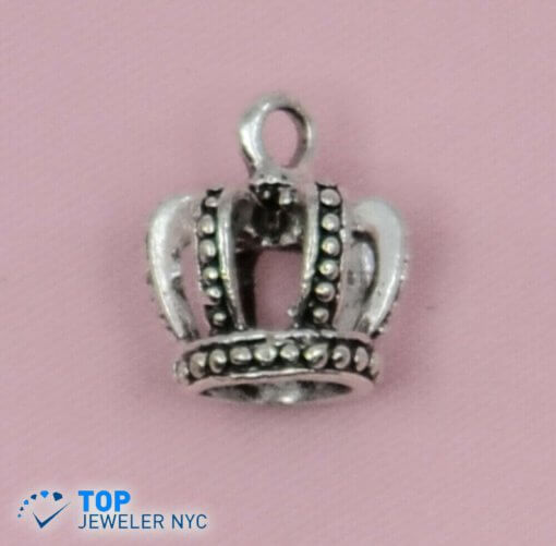 Full King Crown shape steel Pendant Silver plated.