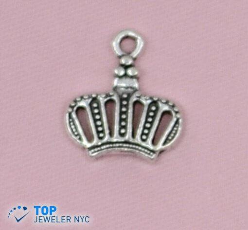 King Crown shape steel Pendant Silver plated.