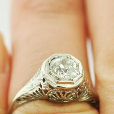 14K White Gold Ladies Ring w/ Diamonds AP 0.9-1.0 ct Size 5.5 RN10-0012 2