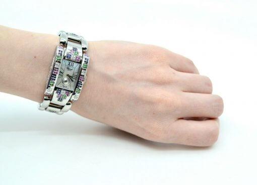 Ladies Chopard Geneve SS Watch w/ Diamonds; rainbow color Sapphires w/Box 2