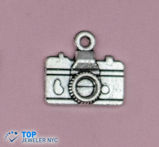 Camera steel Pendant Silver plated.