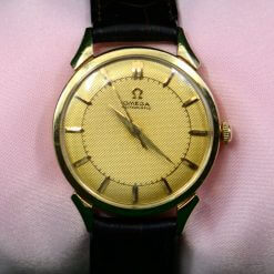 OMEGA 14K Yellow Gold Men's Watch w/ Brown Leather Band & Box
