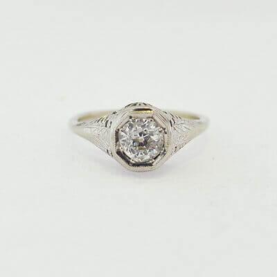 14K White Gold Ladies Ring w/ Diamonds AP 0.9-1.0 ct Size 5.5 RN10-0012 1