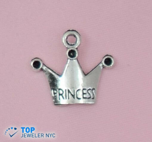 Crown shape steel Pendant Silver plated.
