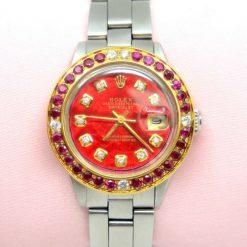 Rolex Datejust Watch two tone w/Diamonds,Rubies & BOX