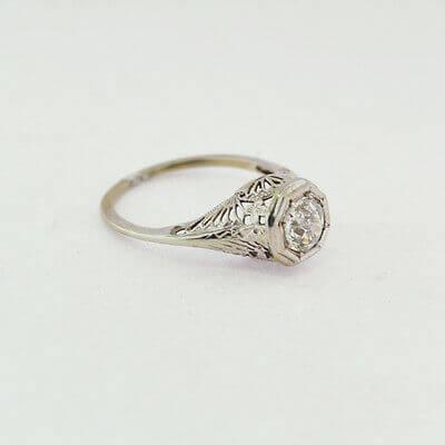 14K White Gold Ladies Ring w/ Diamonds AP 0.9-1.0 ct Size 5.5 RN10-0012
