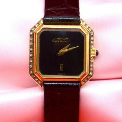 Ladies Must de Cartier Electroplated 18k Yellow Gold ladies Watch with Diamonds