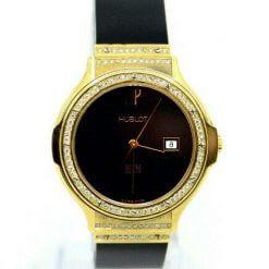 Hublot MDM 18K Yellow Gold Watch w/Diamonds;Date & box