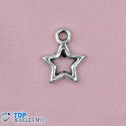 Star Shape steel Pendant Silver plated.