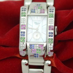 Ladies Chopard Geneve SS Watch w/ Diamonds; rainbow color Sapphires w/Box