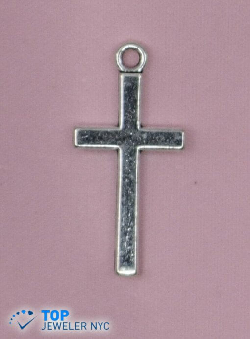Cross steel Pendant Silver plated.
