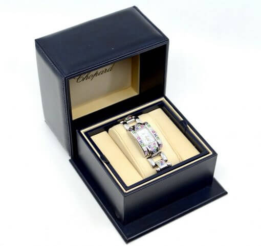 Ladies Chopard Geneve SS Watch w/ Diamonds; rainbow color Sapphires w/Box 6