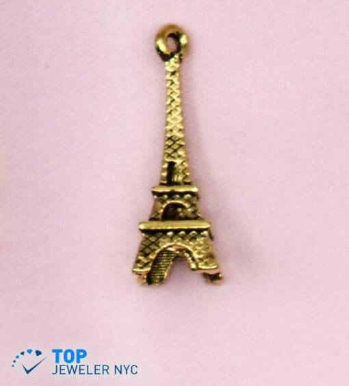 Eiffel Tower Shape steel Pendant Gold plated.