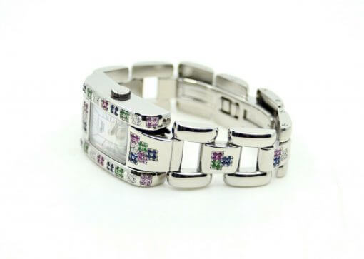 Ladies Chopard Geneve SS Watch w/ Diamonds; rainbow color Sapphires w/Box 5
