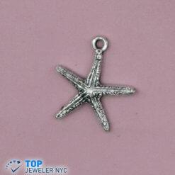 Water Star Shape Steel Pendant Silver plated.