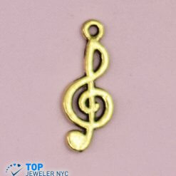 Musical Note Shape steel Pendant Gold plated.