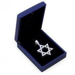 14K White Gold Pendant with Diamonds; The Star of David