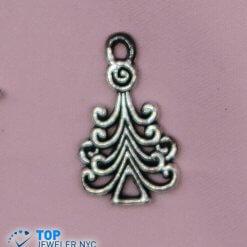 Tree Shape Steel Pendant Silver plated.