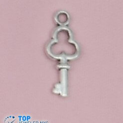Key shape steel Pendant Silver plated.