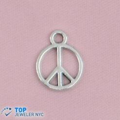 Peace shape steel Pendant Silver plated.