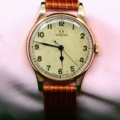 Vintage OMEGA 14K Rose Gold Men's Watch w/ Brown Leather Band!