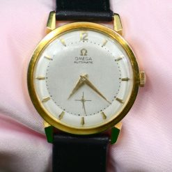 OMEGA 18K Yellow Gold Men's Watch w/ Black Leather Band