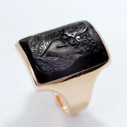 Vintage 14K Black Stone Beautiful Rose Gold Fancy Ring
