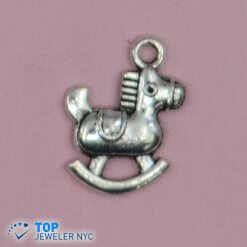 Rocking Horse steel Pendant Silver plated.