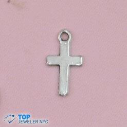 Cross shape steel Pendant Silver plated.