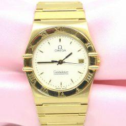 Unisex Omega Constellation Chronometer Watch 18K YG w/Date