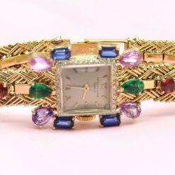 Vintage Patek Phillippe 18K Yellow Gold Watch w/Diamonds, Sapphires, Emeralds