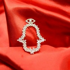 Jewelry Pendant Hamsa 18K Yellow Gold w/Diamonds
