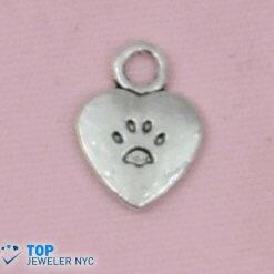 Heart shape steel Pendant Silver plated.
