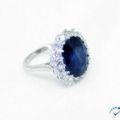 14K White Gold Ring w/ Diamonds,Sapphire
