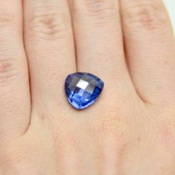 Tanzanite, excellent cut 7.8 ct Lab-Created loose stone, double sided chess cut